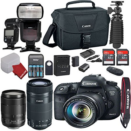 Canon EOS 80D DSLR Camera Bundle with Canon EF-S 18-135mm f/3.5-5.6 IS USM Nano Lens + Canon EF-S 55-250mm f/4-5.6 IS STM Lens+ AF TTL Power ZOOM Flash + Canon Camera Bag + Accessory Kit (21) Items