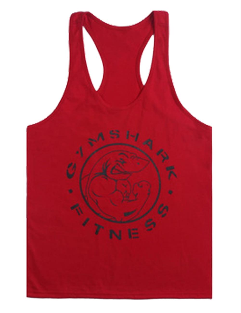 Kojooin kojooin mens gym shark print stringer bodybuilding gym