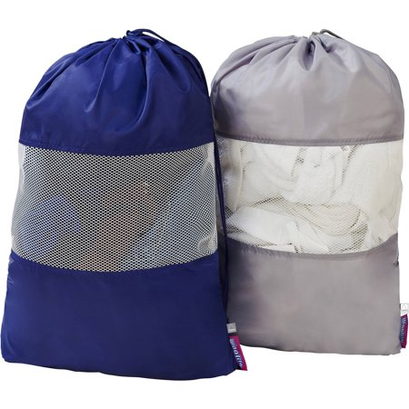 Woolite Sanitized 2-Pack Set Laundry Bag with Mesh Window, 25 x 18 Inch