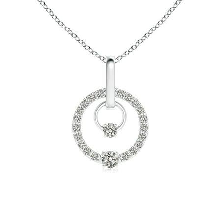 Valentine Jewelry gift - Double Diamond Twin Circle Pendant in 14K White Gold (2.5mm Diamond) - SP0835D-WG-KI3-2.5 14k Gold Diamond Circle Pendant