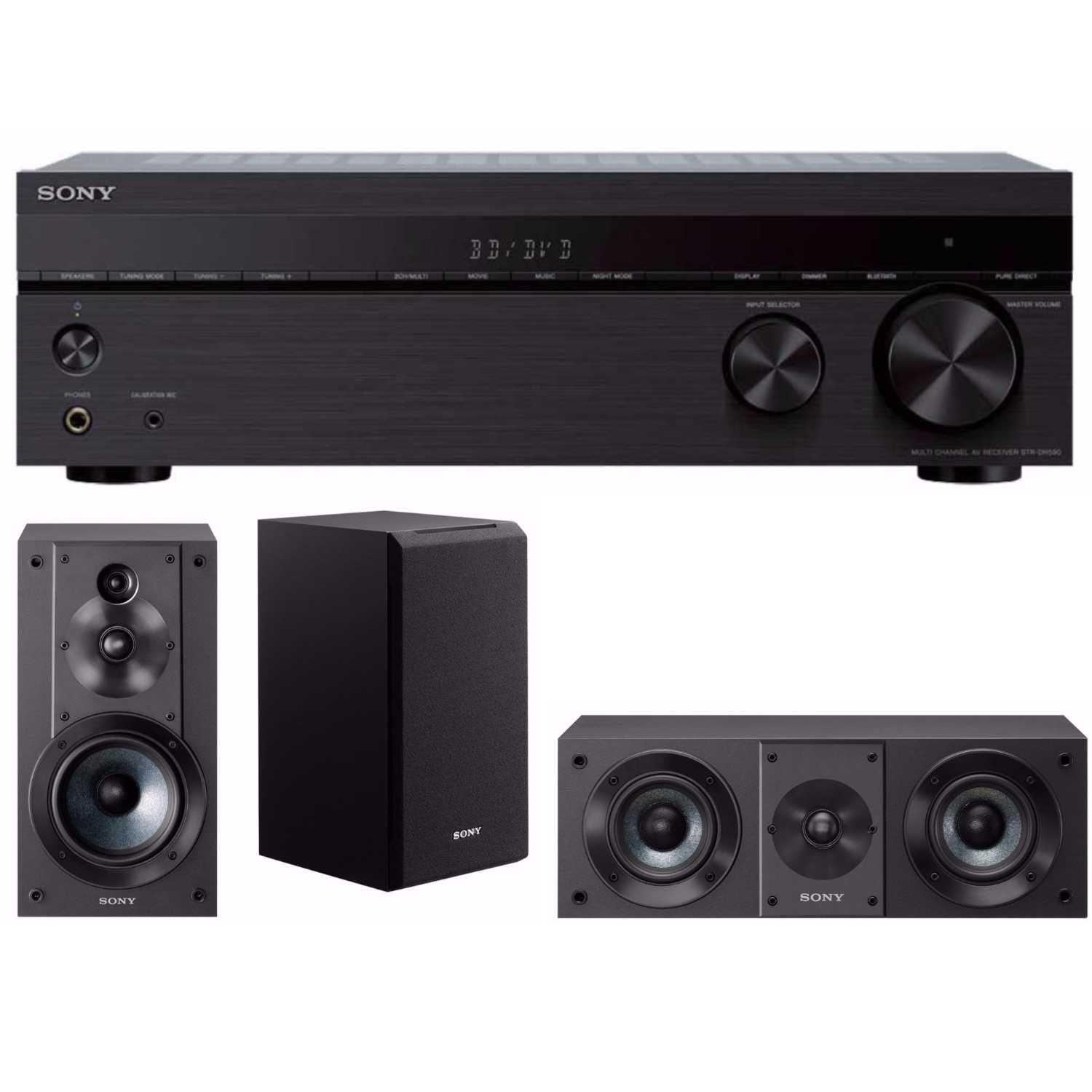 Sony 5.2ch 4K AV Receiver with Bookshelf and Center Channel Speakers Bundle