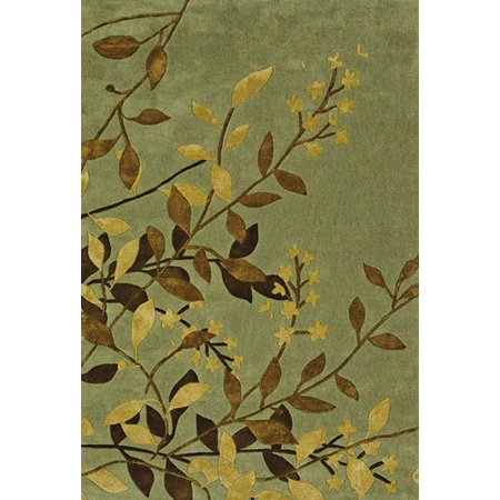 Sphinx Utopia Area Rugs - 84112 Country & Floral Green Leaves Vines Tropical Rug