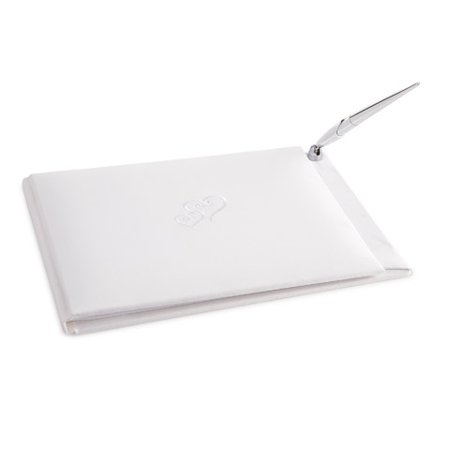 Victoria Lynn Guest Book Set - White with Embroidered Hearts - Embroidered Heart