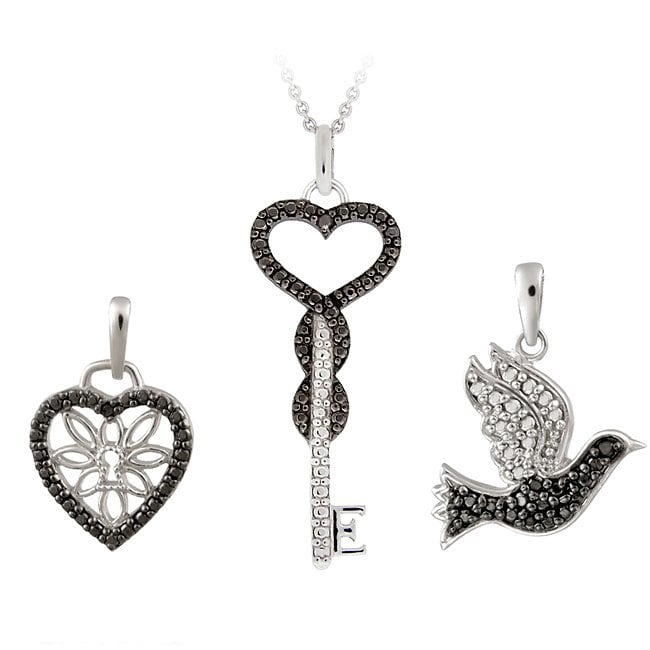 Rhodium-plated Black Diamond Accent Heart, Key and Bird Necklace Set