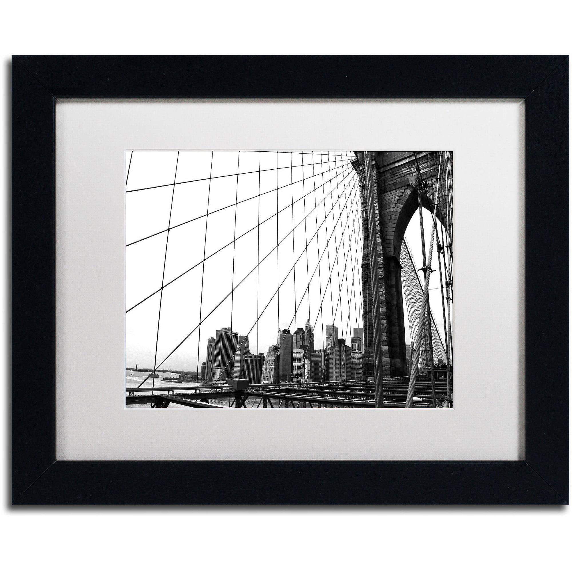 "Trademark Fine Art ""Brooklyn Bridge 4"" Canvas Art by CATeyes, White Matte, Black Frame"