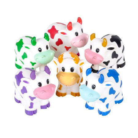Bulk Party Favors Rhode Island Novelty Assorted Colorful Rubber Cow Water Squirters (12pc Set) (Multipack of 3) (Cow Print Party Supplies)