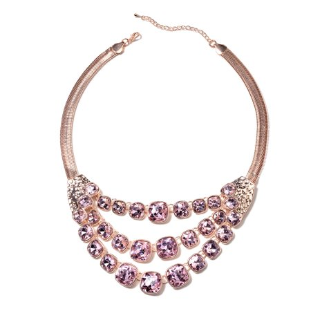 Cubic Zirconia CZ Pink Sapphire Beads Multi Row Necklace Rose Fashion Jewelry for Women Size 20