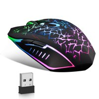 Wireless Gaming Mouse, TSV Rechargeable USB Mouse with 6 Buttons 7 Changeable LED Color Ergonomic for PC Computer Laptop Gaming Players