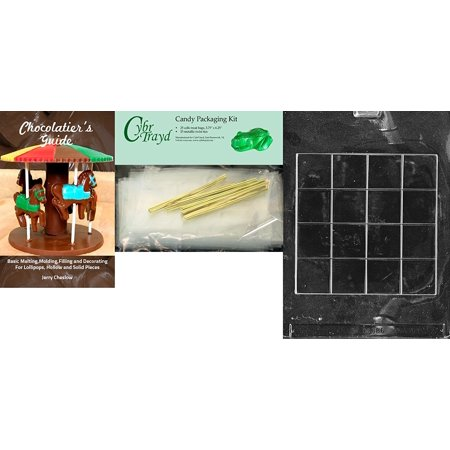 Cybrtrayd Chess And Checker Board Miscellaneous Chocolate Mold With Chocolatiers Bundle  Includes 25 Cello Bags And 25 Gold Twist Ties