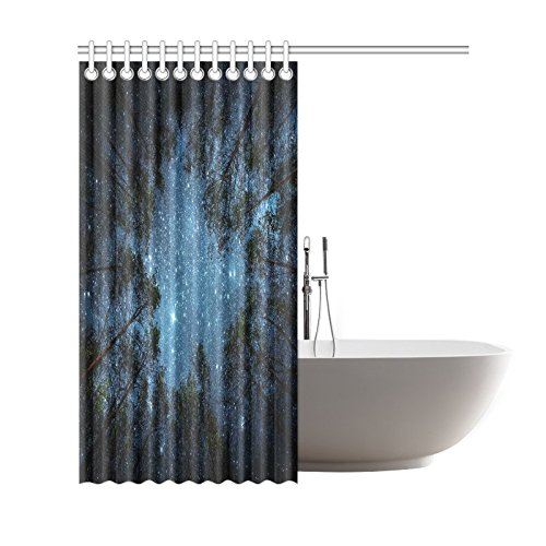 GCKG Starry Night Sky Shower Curtain Milky Way And Trees Polyester Fabric Bathroom Sets With Hooks 66x72 Inches