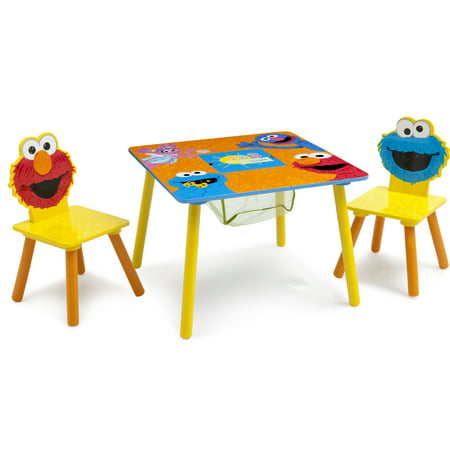 Sesame Street Wood Kids Storage Table and Chairs Set by Delta Children ()