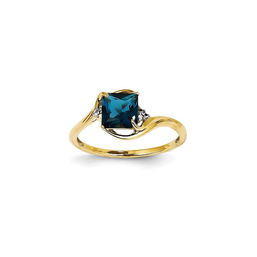 14k Yellow Gold Diamond & London Blue Topaz Cushion Gemstone Ring 0.78ct