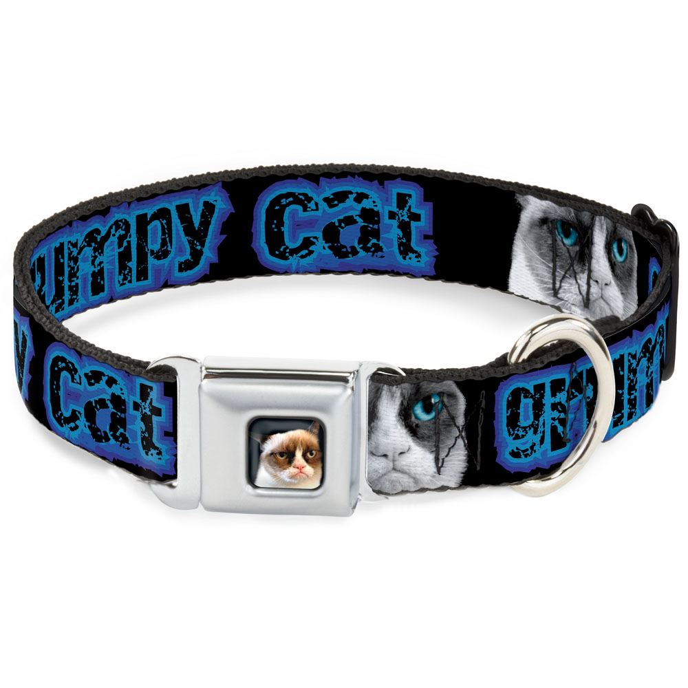 Dog Collar GCA-Grumpy Cat Face Black - GRUMPY CAT w Face CLOSE-UP Black Pet Collar