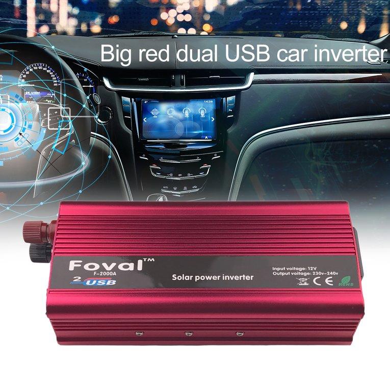 Red High Power Car Inverter 2000W Dc12V To Ac220V Aluminum