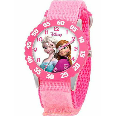 Disney Girls Collection Watch (Frozen Anna, Snow Queen Elsa Girls' Stainless Steel Watch, Pink Strap )