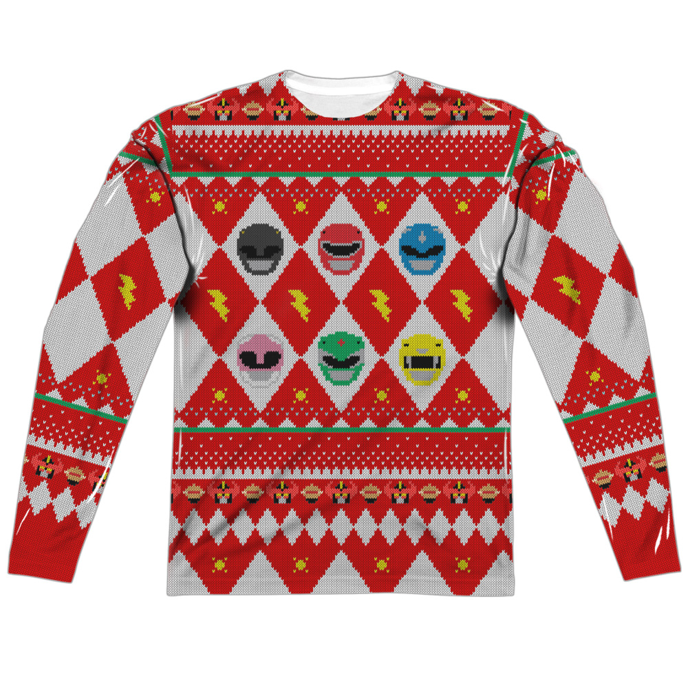 Power Rangers Ho Ho Power Rangers (Fb Print) Mens Long Sleeve Sub Shirt