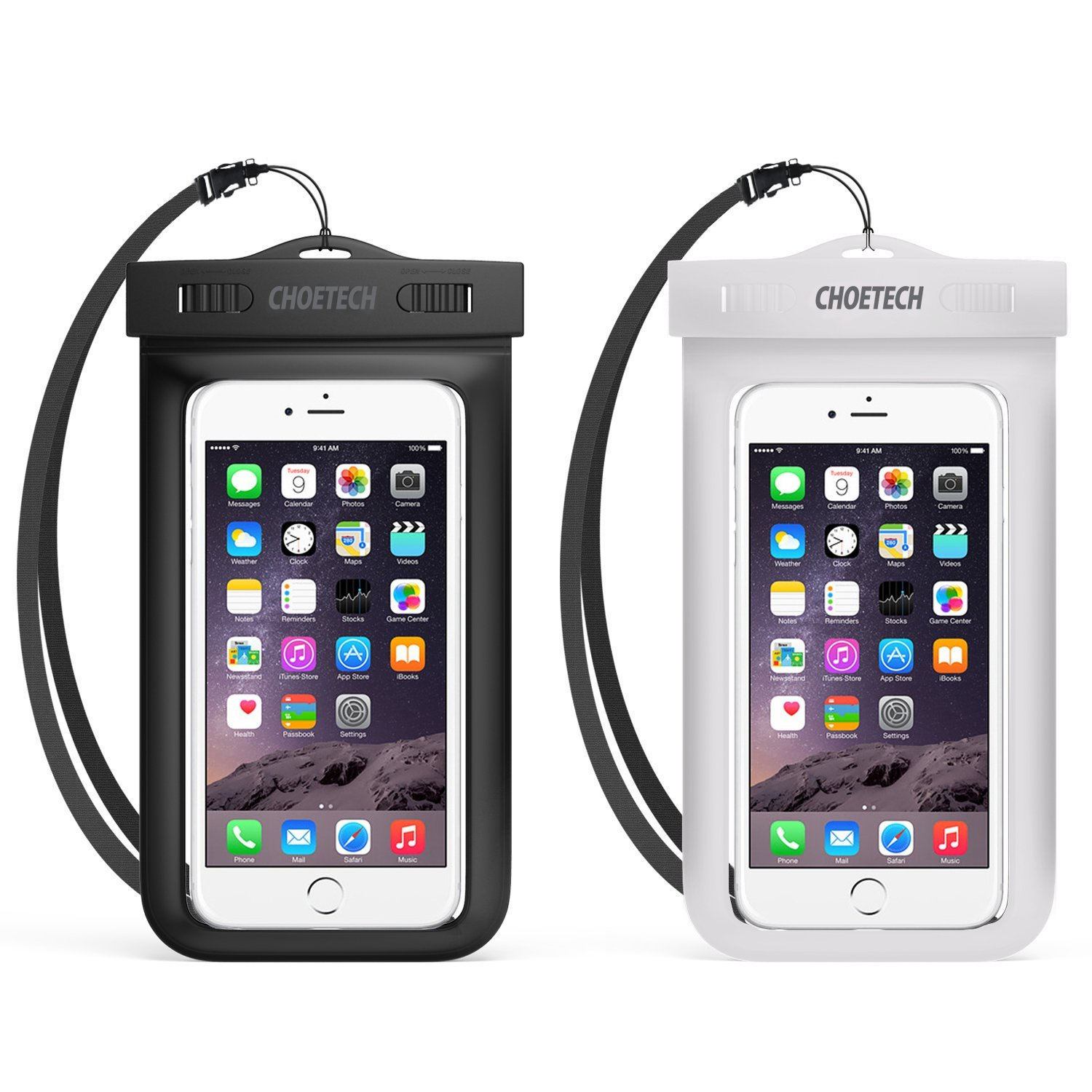 Universal Waterproof Case, CHOETECH 2 Pack Clear Transparent Cellphone Waterproof, Dustproof Dry Bag With Neck Strap for iphone 7, 7 Plus, 6S, 6S Plus, and All Devices Up to 6 Inches