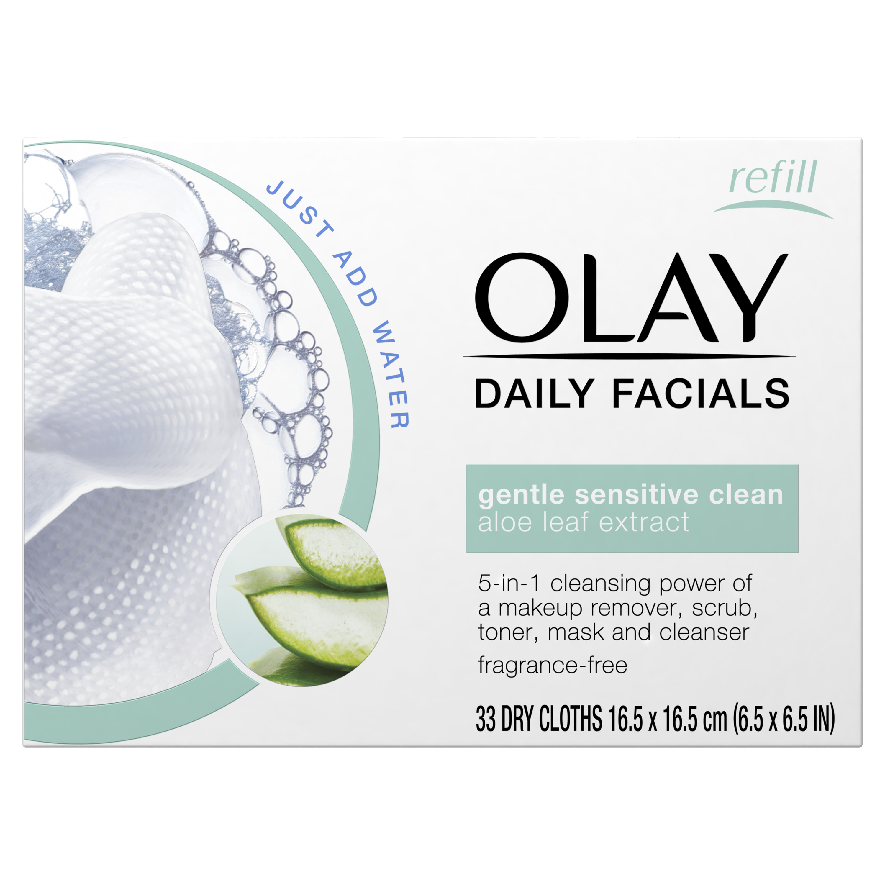 Olay Daily Facials Gentle Clean 4-in-1 Water Activated Cleansing Cloths, 33 Count
