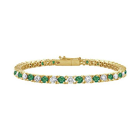 Emerald and Diamond Tennis Bracelet with 1.00 CT TGW on 18K Yellow Gold - image 1 of 2