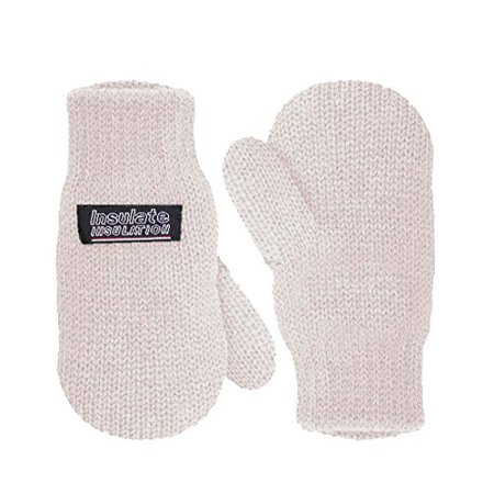 SANREMO Unisex Kids Toddler Knitted Fleece Lined Warm Winter Mittens (4-7 Years, Off White)