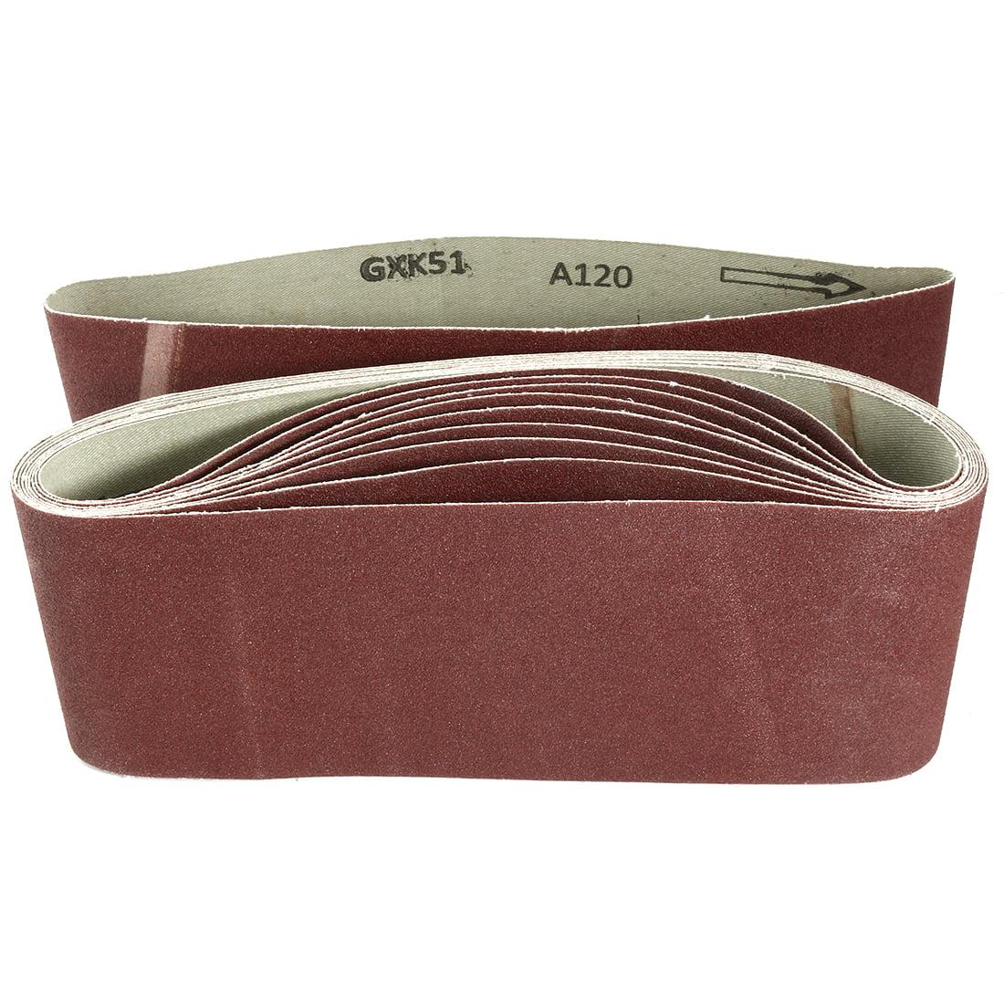 Unique Bargains 4-Inch x 24-Inch 120 Grit Lapped Butt Joint Aluminum Oxide Sanding Belt 10pcs - image 3 de 3