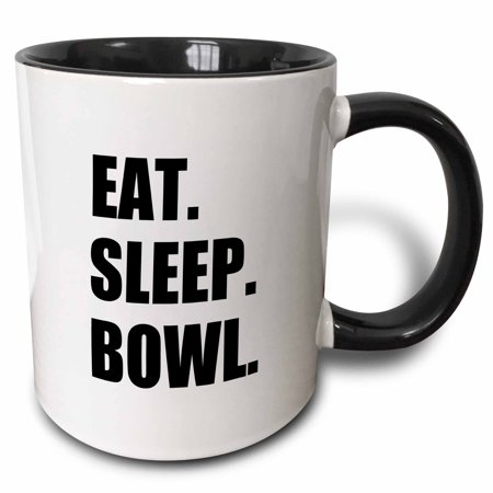 3dRose Eat Sleep Bowl - passionate about bowling bowler black typography text - Two Tone Black Mug, 11-ounce