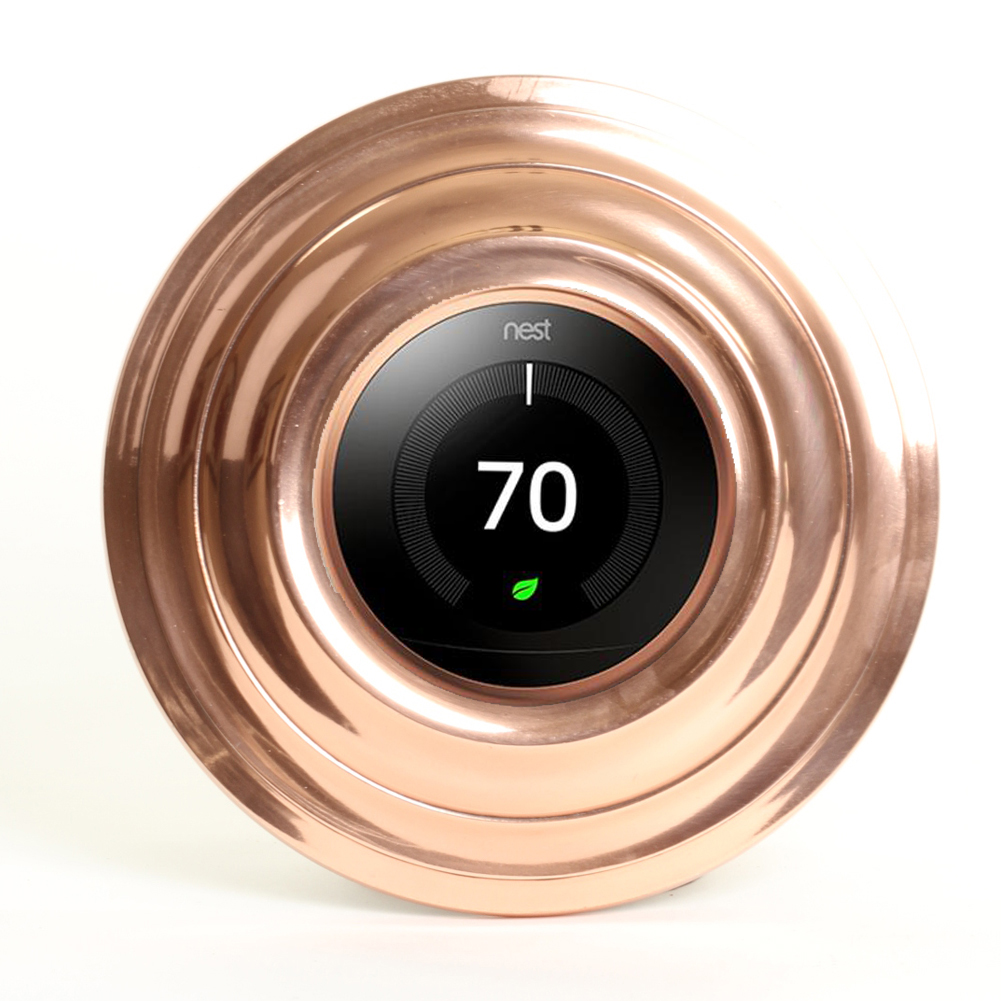 Koyal Wholesale Shiny Copper Metal Smart Thermostat Trim Plate Round 7-Inch Plate Covers