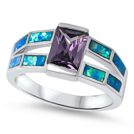 Simulated Emerald Cut Simulated Amethyst Blue Simulated Opal Ring ( Sizes 6 7 8 9 10 ) .925 Sterling Silver Band Rings (Size 6)