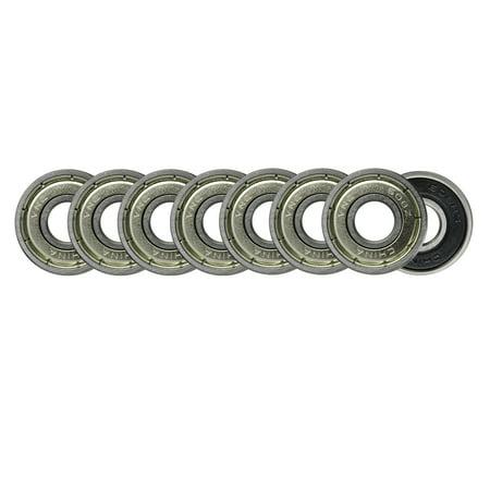 Board Shield - 608ZZ Precision Skateboard Bearings 8x22x7mm Double Shielded Silver (Pack of 8)
