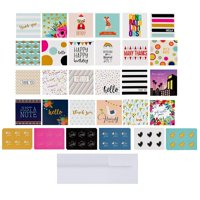 40-Count Mini Assorted Greeting Cards with Envelopes & Stickers, All Occasion Assortment, Bulk Box Set Blank Note Card Value Pack for Birthday Get Well Congratulations Thank You Congrats,2.5 x 2.5 In