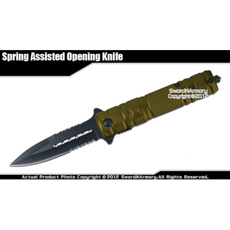 Stiletto Tactical Assisted Opening Folding Pocket Knife with Glass