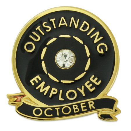 PinMart's Gold Outstanding Employee of the Month October w/ Rhinestone Lapel - Employee Lapel Pin