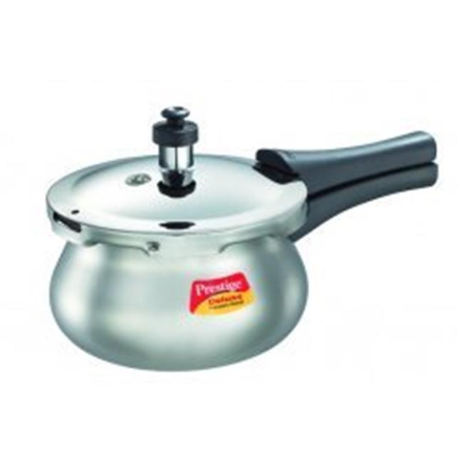 Prestige PRDAH3.3 Small Deluxe Plus New Flat Base Aluminum Pressure Handi for Gas and Induction Stove Silver - 3.3 Litres