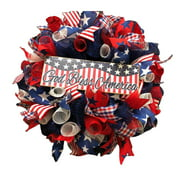 Mchoice Independence Day 4th of July Wreath Porch Decoration Front Door Outdoor Hanging Wreath Wedding Decor