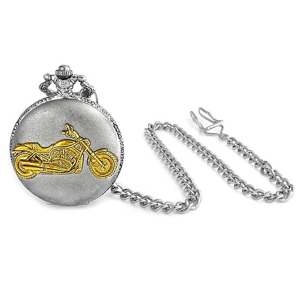 Antique Style Motorcycle Biker Two Tone Silver and Gold Plating Mens Pocket Watch