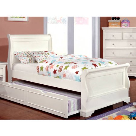Furniture of America Nalah Youth Design White Sleigh Bed, Twin