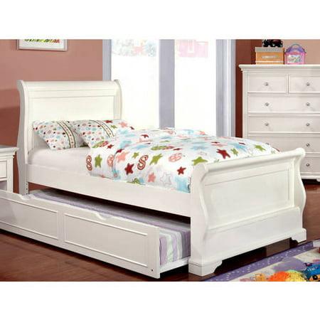 - Furniture of America Nalah Youth Design White Sleigh Bed, Twin
