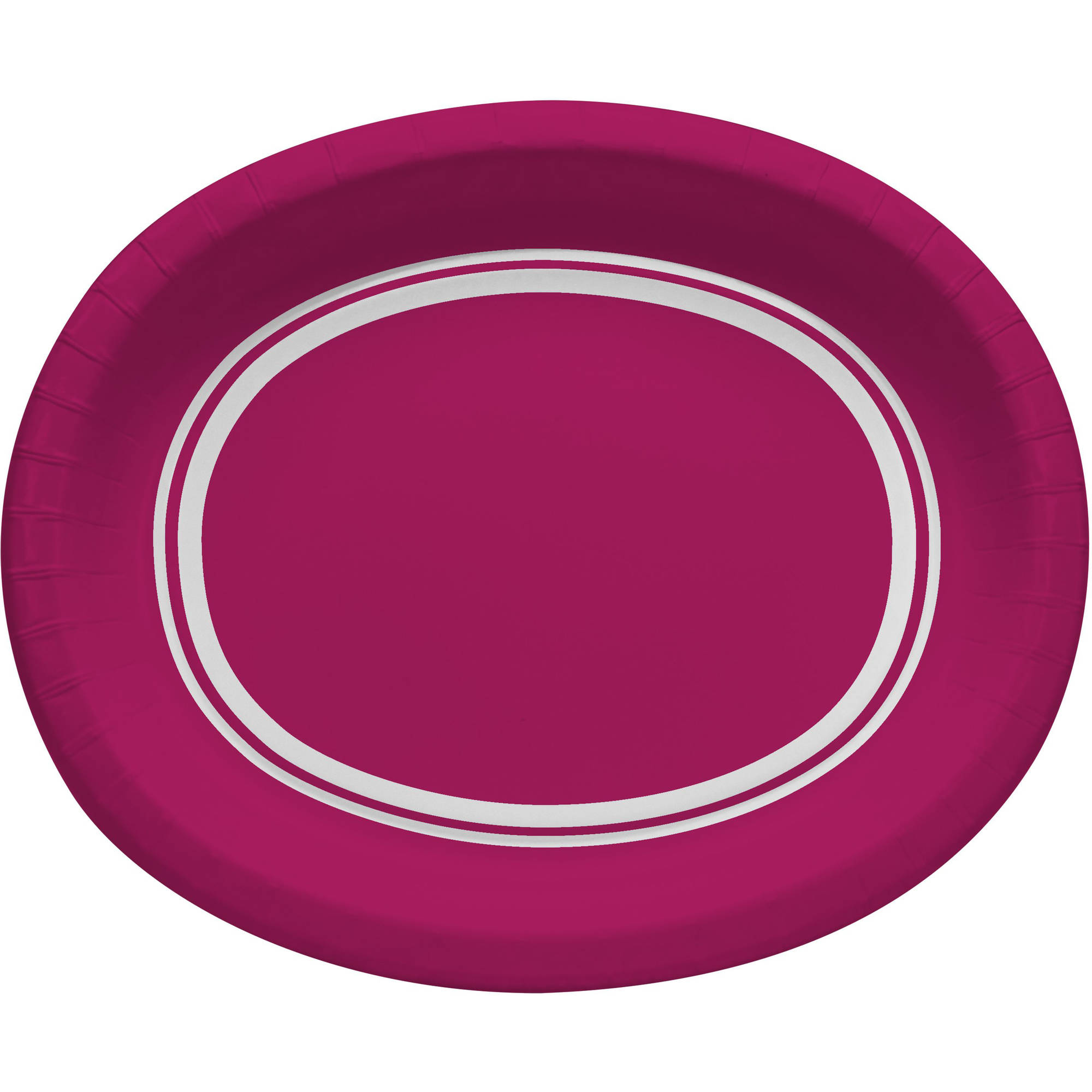 Hot Magenta Oval Plates, 10-Pack