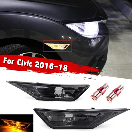 1Pair Smoked Front LED Side Marker Lights Turn Signal T10 BULB For 2016-18 Honda -