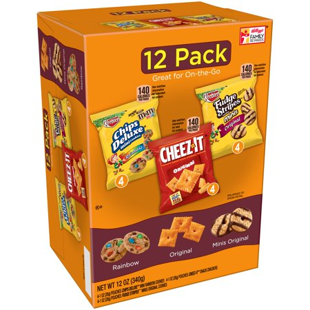 Keebler Chips Deluxe/Cheez-It/Fudge Stripes Snack Variety Pack 12-1 oz. Packages
