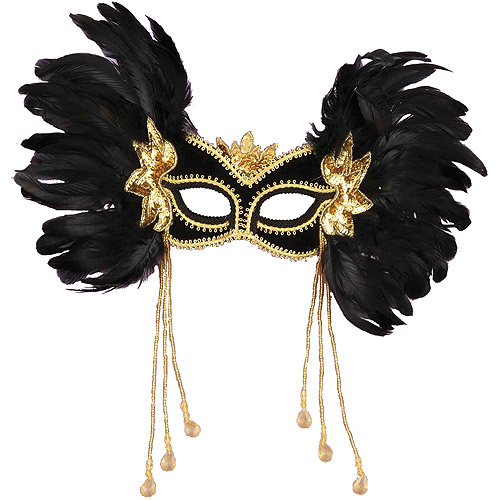 Black Venetian Mask with Dangles Accessory