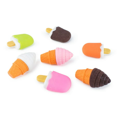 Colorful Mini Ice Cream Cone Fudge Pop Frozen Treat Erasers Children Toy Party Favors (48 Pieces) by Super Z Outlet - Ice Cream Cone Decorations