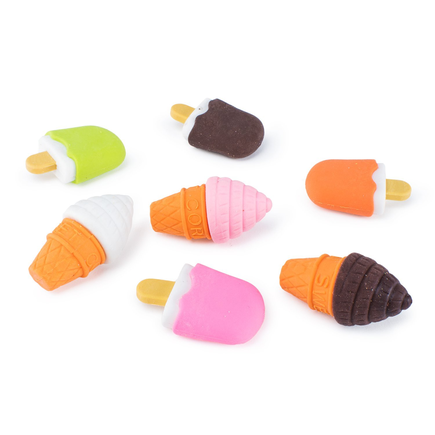 Colorful Mini Ice Cream Cone Fudge Pop Frozen Treat Erasers Children Toy Party Favors (48 Pieces) by Super Z Outlet