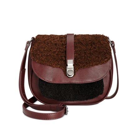 Leather Small Flap (Danielle Nicole Womens Minx Faux Leather Flap Saddle Handbag Purple)
