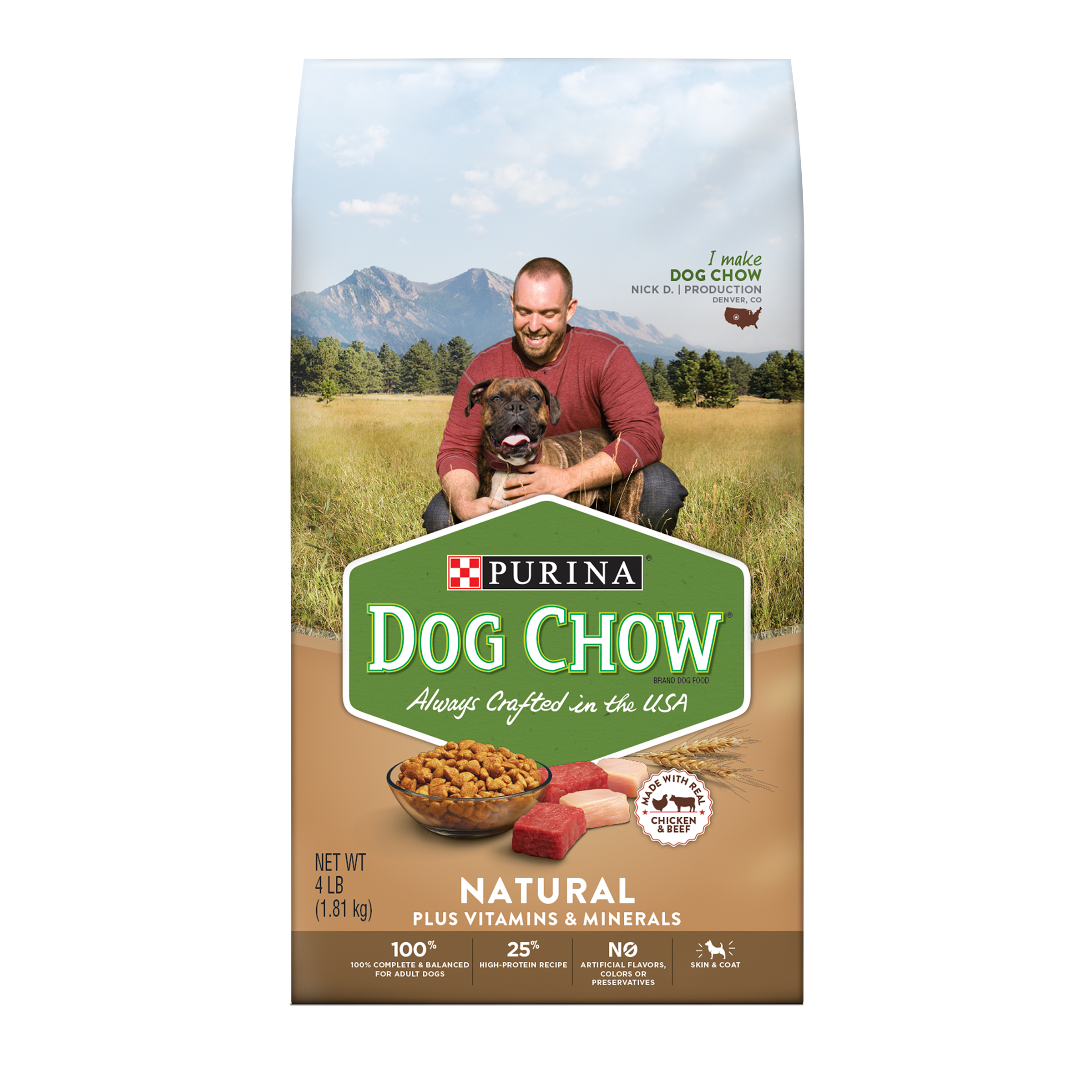 Purina Dog Chow Natural, High Protein Dry Dog Food; Natural - 4 lb. Bag
