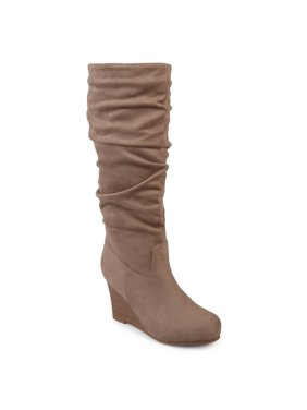 Women's Wide Calf Slouchy Faux Suede Mid-calf Wedge Boots