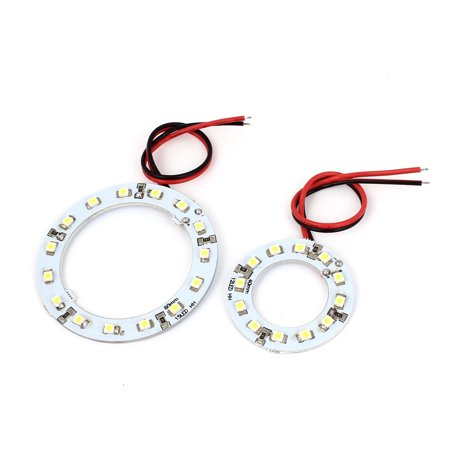 Unique Bargains 2 Pcs 40mm x 60mm Car Angel Eye 1210 SMD  Light Circle Headlight Lamp White Angel Eyes Car