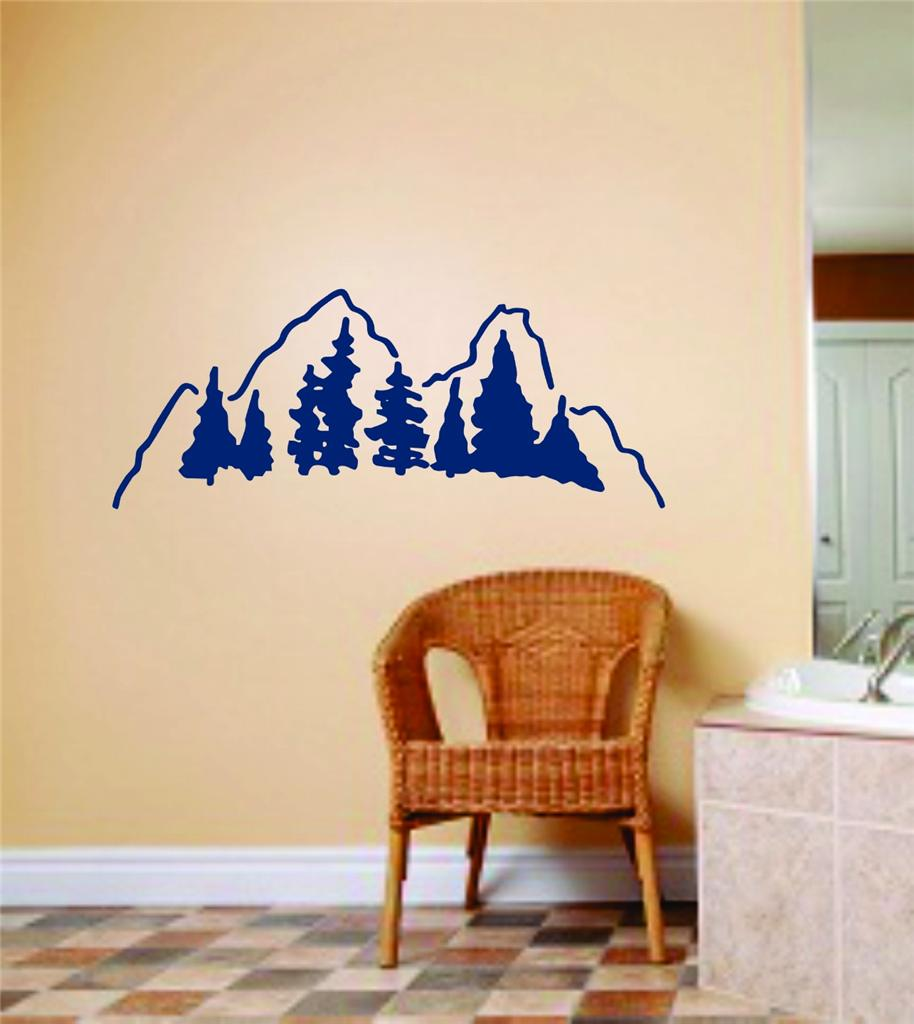Mountain Picture Art Peel & Stick Sticker Vinyl Wall Decal 6 X 12 Inches