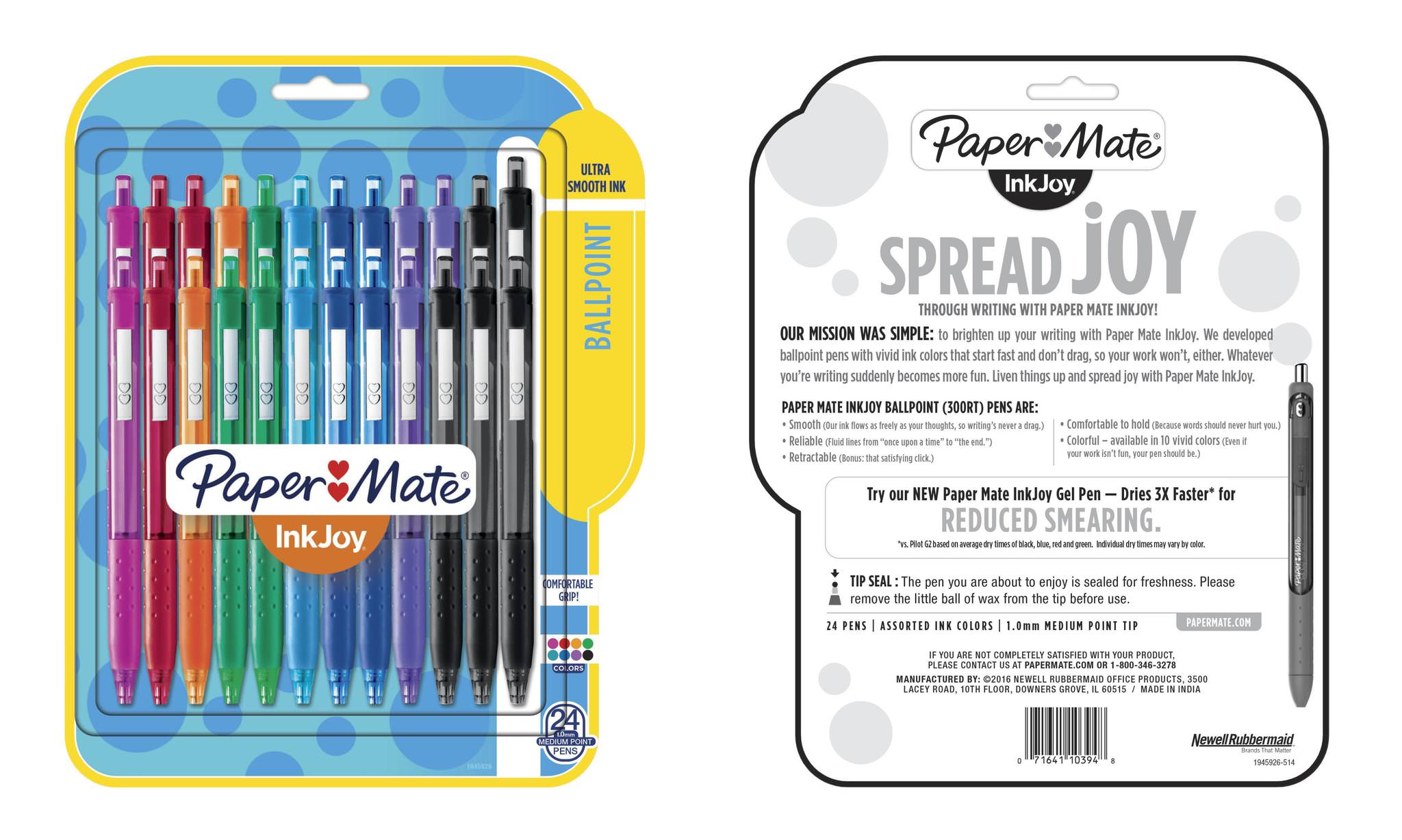 Paper Mate InkJoy Retractable Ballpoint Pen, 1mm, Assorted, 24 Pack by Newell Brands