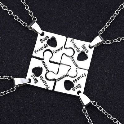 TURNTABLE LAB 4 Pcs Graduation Season Gift Best Friends Forever Friendship Chains Puzzle Chains Family Friends